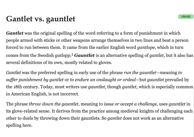 gantlet vs gauntlet